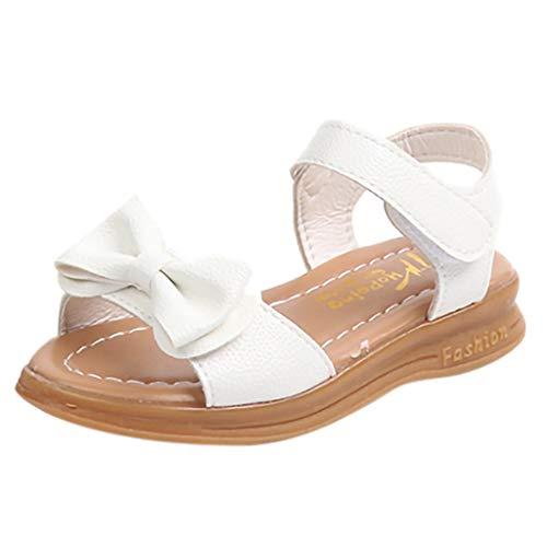 XLGX Enfants Filles Sandales D'Été Bowknot Plat Chaussures de Princesse Chaussons de Enfants Sandales Fille Pas Cher (30 EU, Violet)