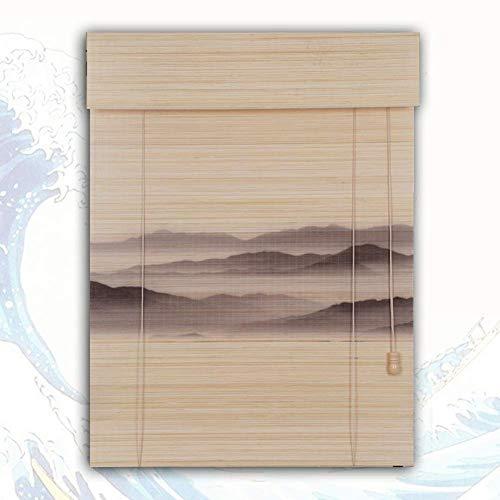 CXHMYC Bambus-Rollos Sonnenschutz Shading Hid atmungsaktive Drucklandschaft Handmade (Farbe: A, Größe: 100x180CM)