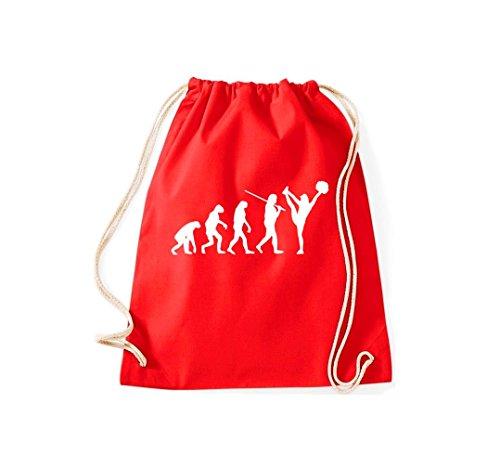 Turnbeutel Evolution Cheerleader Cheerleading Kostüm Fun Sport Tanz Gymsack Kultsack rot