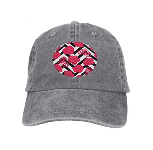 Adjustable Cotton Hat Fashion Cotton Denim Baseball Cap Gray Roses Love Heart Background Black White Zigzag Stripes s Gray -