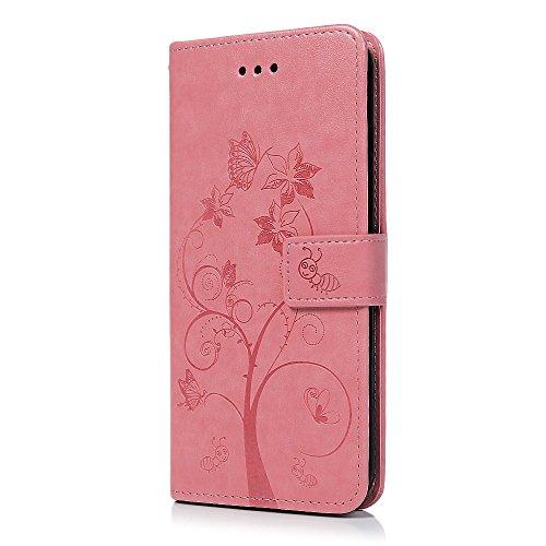 Badalink Hülle für iPhone 7 Plus / iPhone 8 Plus Rosa Ameise Baum Handyhülle Leder PU Case Cover Magnet Flip Case Schutzhülle Kartensteckplätzen und Ständer Handytasche mit Eingabestifte und Staubschu Rosa