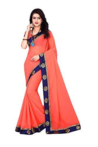 Om Sai Latest Creation Georgette Saree (Orange, Free Size)
