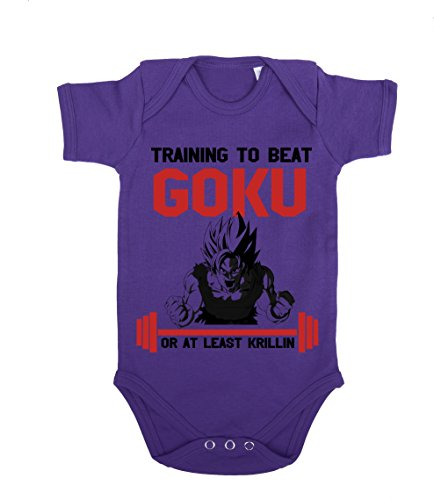 Train to beat Goku Baby Strampler Body Dragon Master Son Ball Vegeta Turtle Roshi Db, Farbe:Lila;Größe:74
