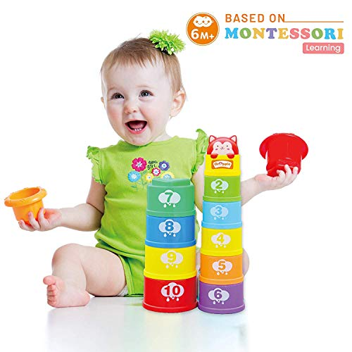 Orapple Toys by R for Rabbit -Stack It Learning Cups with Music for Kids Stacking Toys 1 2 3 4 Years (Multi)