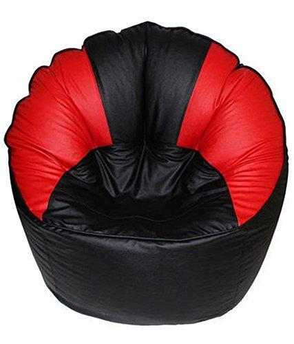 Signature Rot Leder (Cozy Signature sitzsackabdeckung ohne Bohne schwarz & rotes Leder bequemer großer sofastuhl-Salon-sitzsack)