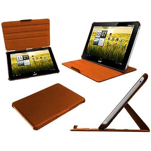 Navitech Custodia Arancione in pelle Bycast Multi Stand per Acer