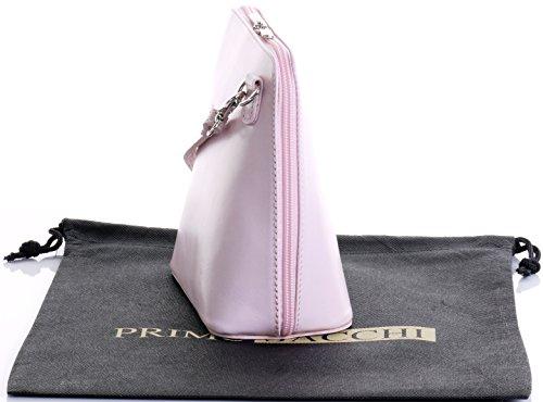 In pelle italiana, Small/Micro croce corpo borsa o borsetta borsa a tracolla.Include una custodia protettiva di marca. Rosa confetto