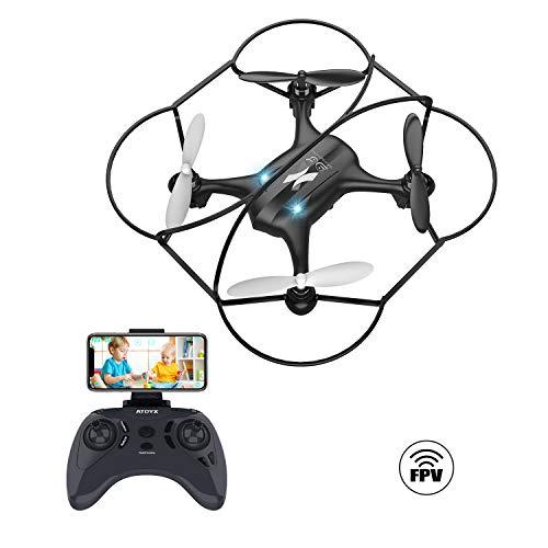 Giocattoli per Bambini Mini Drone con Telecamera FPV WiFi Trasmissione G-sensore AT-96 RC Quadcopter Regalo Un Pulsante di Decollo/ Atterraggio ,modalità Senza Testa Protezioni 360°