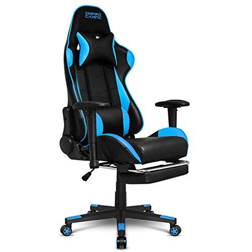 Empire Gaming - Stuhl Gamer Racing 800 Serie Schwarz/Blau - Fußstütze und ultrabequeme Rennsportform - Verstellbare 2D-Armlehnen - einschließlich Lenden- und Nackenkissen.