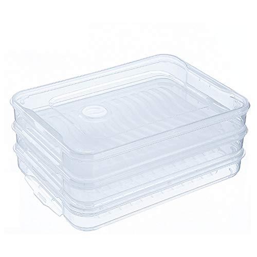 Mudacun 3-Schicht-Food Storage Box Rechteck Dumpling-Speicher-Organisator mit Deckel und Griff Transparent 1 Sets (Speicher-behälter-set Mit Deckel)