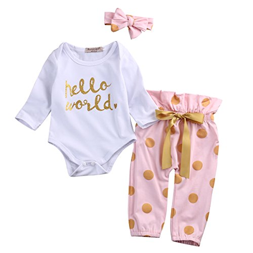 3Pcs Infant Newborn Baby Girls HELLO WORLD Romper Tops+Pants Clothes Outfit Sets (0-6 Months, Polka dot)