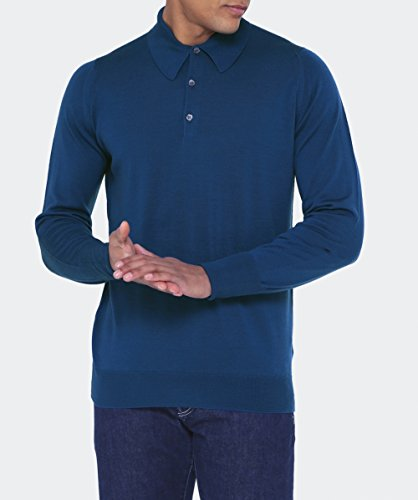 John Smedley Herren Einfach Fit Merino-Wolle-Dorset-Polo-Shirt Blau Blau