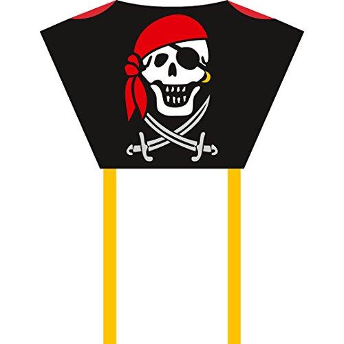 Invento 100083 - Sleddy Jolly Roger, Kinderdrachen Einleiner, Ab 5 Jahren,76 x 50 cm und 190 cm Drachenschwanz Ripstop-Nylon 2-6 Beaufort