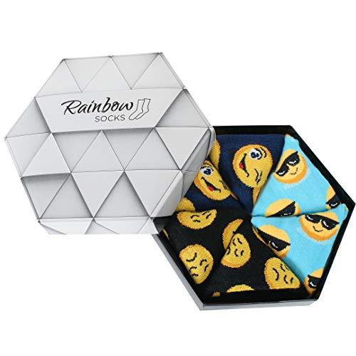 Rainbow Socks - Damen Herren Lustige Emoji Socken Box - 3 Paar - Türkis Dunkelblau Schwarz - Größen EU 41-46