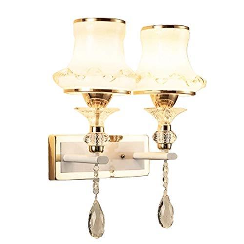 Moderne minimalistische Wandlampe, Eisen Lampe Körper Glas Lampenschirm Kristall Champagner Farbe geschnitzte Wand Nacht Lampen für Schlafzimmer Nacht Wohnzimmer American Study Flur Gang LED-Leuchte American Champagne
