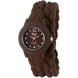 TKO Women's Thin Double Wrap Brown Wraparound Braided Teen Girl Girls Watches TK646BR