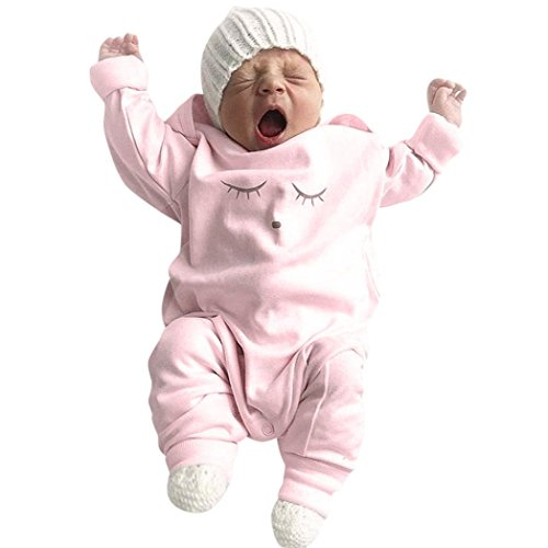 Babykleidung,Honestyi Herbst Winter neugeborenen Baby Mädchen&junge Augen Gesicht drucken Spielanzug Overall hat 2St Outfit Set (Rosa, 3M/70CM) (Winter Mädchen Herbst Kleidung)