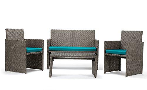 Rattan4Life Sitzgruppe Neapel, 4-teilig Deluxe Polyrattan Gartenmöbel Set, Sofa / Lounge /...