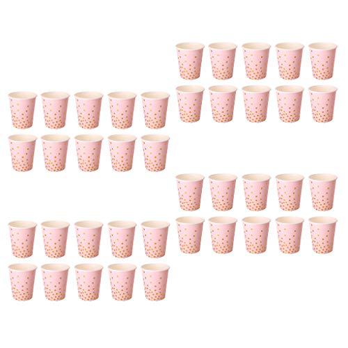 (Fenteer 40stk. Polka Dot Pappbecher Einwegbecher Einweggeschirr Becher für Tee Wein Kaffee und Getränke)