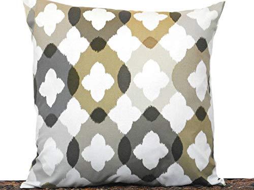 Beige Tan Khaki (Quatrefoil Pillow Cover Cushion Gray Khaki Tan Beige Brown Moroccan Modern Decorative 18x18)