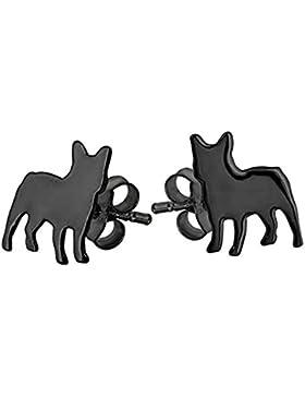 Schwarz französische Bulldogge Hund Ohrringe–Sterling Silber mit IP-Beschichtung–Exklusiv zu Katy Craig Ltd