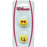 Wilson Vibrationsdämpfer für Tennisschläger, Emoti-Fun, 2er Pack, Emoticon-Design (Verliebt/Grimasse), gelb, WRZ538400