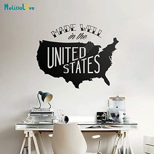 yaoxingfu Gut gemacht In Den Vereinigten Staaten Karte Stciker Usa Büro Aufkleber Home Living Room Decor Company Abnehmbare VinylWandaufkleber 103x80 cm
