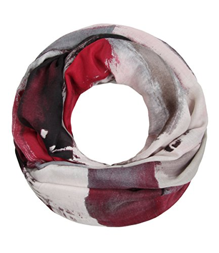 Majea NEUE Saison Damen Loop Schal viele Farben Muster Schlauchschal Halstuch in aktuellen Trendfarben (rot 1)
