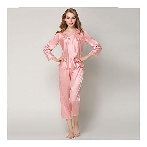 becacb09af HAOLIEQUAN Silk Pajamas Sets Women Ladies Long Sleeve Tops+Pants Plus Size  Sleepwear Nightwear Pyjama