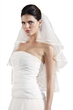 "Flora 2-Tier Satin Edged Bridal Veil with Austrian Crystal Rhinestones,32""L Waist Length (IVORY)"