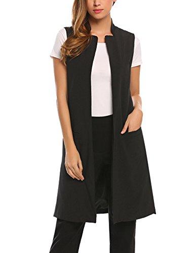 Damen Lang Weste Cardigan Ärmellos Casual Blazer Top Jacket Mantel Outwear mit Taschen Stehkragen Khaki Schwarz Weiß