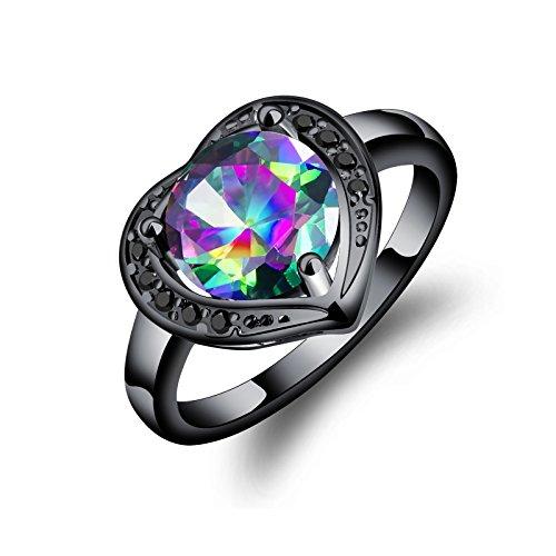 Aienid Hochzeit Ringe Edelstahl Vergoldet Cz Gem Black Ring Für Frauen Size:57 (18.1)
