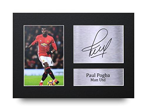 Paul Pogba Les Cadeaux Ont Signé A4 L'Autographe Imprimé Manchester United Man Utd Affichage d'image de Photo D'Empreinte