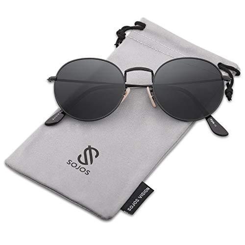 SOJOS Mode Rund Polarisiert Damen Herren Sonnenbrille Mirrored Lenses Unisex Sunglasses SJ1014 (C12 Schwarz Rahmen/Grau Linse)