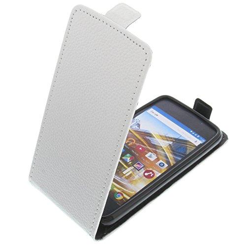 foto-kontor Tasche für Archos 40 Neon Smartphone Flipstyle Schutz Hülle weiß