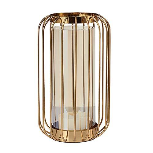 Metallzylinder Kerzenhalter Golden Laterne Home Decoration Vase Kerzenhalter Desktop Crafts Geschenke,20.5 * 32.5cm -