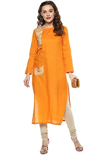 Aahwan Yellow Long Cotton Kurtis for women with Pocket (AC-fanta-Butti-XXL)