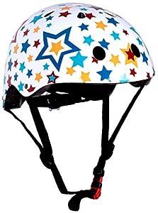 KIDDIMOTO Stars S Casco para niños, Unisex-Niño, Blanco/Multicolor, S (48-53 cm)