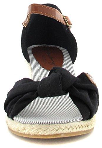 Mustang Sandalette, Scarpe Col Tacco con Cinturino a T Donna nero (Schwarz (Schwarz 9))