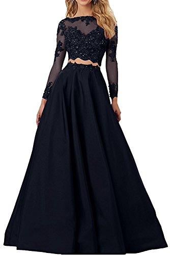 Topkleider Damen Attraktive 2019 Spitze Satin Zweiteilig Hochzeitskleider Lang Abendkleider Ballkleider Partykleider Langarm-40-Navy