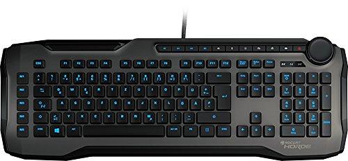 Roccat Horde Membranical Gaming Tastatur (blaue LED Beleuchtung, Präzisions-Tastenlayout, Quick-fire Makro-Tasten, konfigurierbares Tuning-Rad, USB) grau