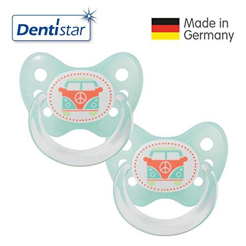 Dentistar® Latex Schnuller 2er Set inkl. 2 Schutzkappen - Nuckel Naturkautschuk Größe 2, 6-14 Monate - für Babys - Bus, türkis
