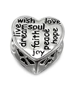 1 x Solid Sterling Silver Heart with CZ Stones (live, dream, wish, soul, faith, joy, peace, hope and love) 925 Stamped