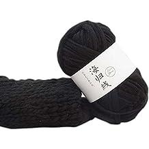Souarts Fil de Laine Grosse Pelote à Tricoter pour Écharpe Chapeau Noir 1  Rouleau f0b2cab536a