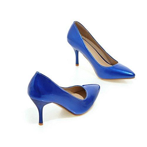 VogueZone009 Donna Tirare Scarpe A Punta Luccichio Puro Tacco Alto Ballerine Azzurro