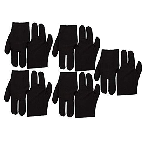 Zonster Black Stretch Velvet 3 Finger Handschuhe für Billard Queue Pool Packung mit 10