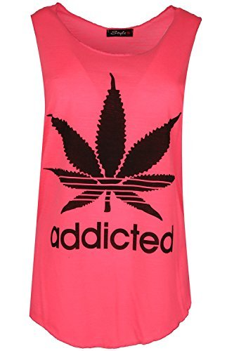 Womens Brennen Out Racerback Addicted Cannabis Blatt Borte Damen Top T  Shirt Freizeit Party Sport,