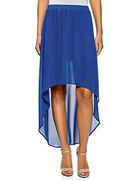 oodji Ultra Mujer Falda de Gasa con Parte Inferior Asimétrica