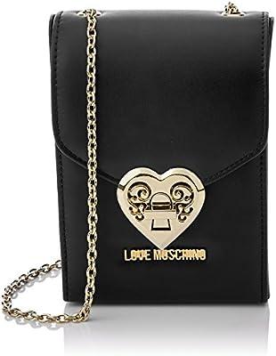 Love Moschino - Borsa Nappa Pu Nero, Bolsos baguette Mujer, Schwarz (Black), 17x12x6 cm (W x H D)