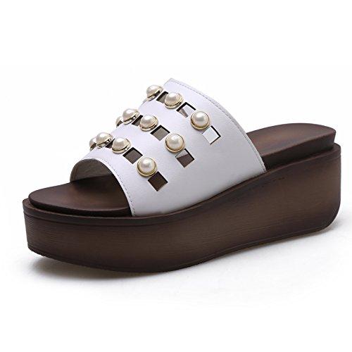 SFSYDDY-L'Estate 7.5Cm Scarpe Bianco Denso Basso Pendio Con Le Pantofole Signore Dei Sandali Di Cuoio Rhinestone Zuccherino Outdoor Pantofole. 39 Thirty-five